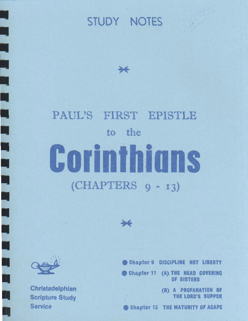 paul s first letter to the corinthians detroit christadelphian book supply 23914