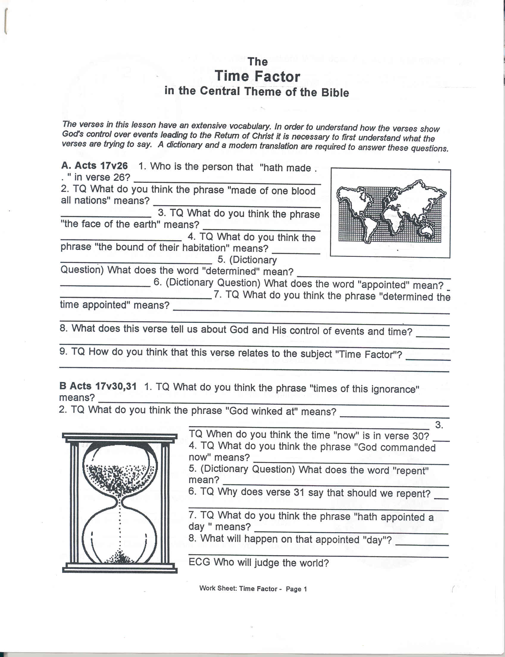Worksheets Worksheet On Theme detroit christadelphian book supply time factor in the central theme wc bible marking lesson worksheet