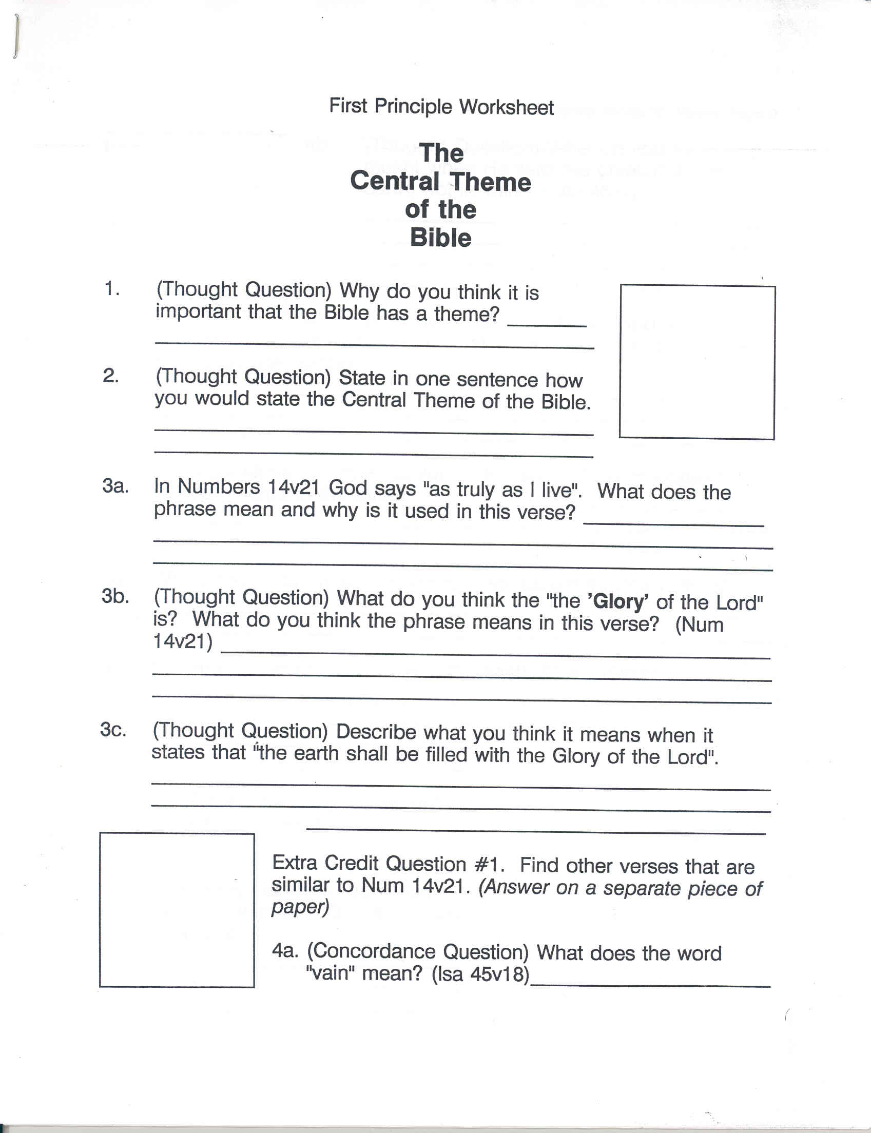 Worksheets Worksheet On Theme detroit christadelphian book supply central theme of the bible wc marking lesson worksheet